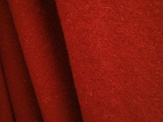 Red wool frizado available at the discounted price of £13.50 per half yard until 30 April 2019