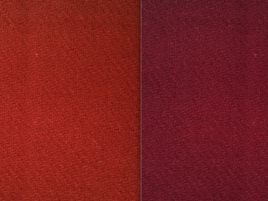 Madder red and murray red woollen 2/2 twill cloth available at the discounted price of £12.60 per half yard until 30 April 2019