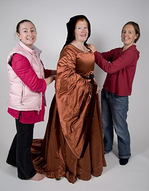 Jane, Caroline and Ninya at the photoshoot for The Queen's Servants