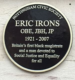 Plaque celebrating Eric Irons at Nottingham's historic courtroom